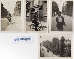 4 Photos  Anciennes - LE HAVRE  -     En Vélo Dans Les Rues Du Havre -  Une Rue Du Havre - 1931 - Lieux