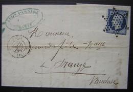 1856 Pannier Rue Rambuteau Passementerie Articles Pour Dames Et Pour Tailleurs, Oblitération étoile Paris, Voir Photos ! - Marcophilie (Lettres)