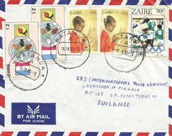 DRC RDC Zaire Congo 1986 Katanda Code Letter A Football Noel 1.50Z Cooperation 1Z Cover - 1980-89: Oblitérés