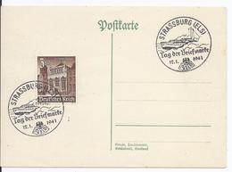 Dt- Reich (002503) Postkarte Mit Propagandastempel Zum Tag Der Briefmarke,blanco Gestempelt Mit SST Strassburg 12.1.1941 - Occupation 1938-45