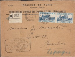 L. Affranchie 3 Frs ( Regence De Tunis ) En RECOMMANDE De ScTUNIS / Chargements 1.2.1929 -> ESPAGNE / Barcelone / 7.2.29 - Tunisia (1888-1955)