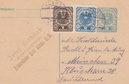 EP 2 Kronen + Compléments Obl KLAUS Du 21 III 22 Adressé à München - Entiers Postaux