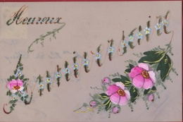 Heureux Anniversaire Celluloïd Peinte à La Main Bloemen Fleurs Flowers Fioiri Flor Fantaisie Fantasiekaart Carte CPA - Bloemen