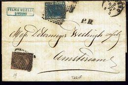 ITALIE - 1874 - Affranchissement à 50 Ct Sur Pli De Livorno, En Port Dû, Pour Amsterdam - B/TB - - Marcophilie