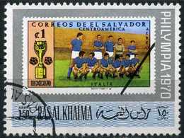 Ras Al-Khaima - Italian Football Team | Stamps On Stamps From El Salvador MiNr.1014 | Exhibitions | 1970 - Mi. 476A O - Unclassified