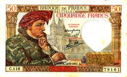 BILLET /50 FRANCS JACQUES COEUR   SUP + -11- 9-1941 - 1871-1952 Anciens Francs Circulés Au XXème