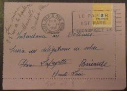 """Flamme """"Le Papier Est Rare, Economisez Le"""" Sur Carte-lettre 1945 - Timbre Arc De Triomphe YT N°709 Seul - Marcophilie (Lettres)"""