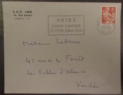 """Flamme """"Votez Sinon L'avenir Se Fera Sans Vous"""" Sur Enveloppe 1958 - Timbre Moissonneuse YT N°1115 - Oblitérations Mécaniques (flammes)"""