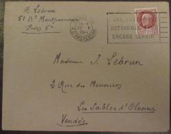 """Flamme """"Une Enveloppe Retournée Peut Encore Servir"""" Sur Enveloppe 1944 - Timbre Pétain Bersier YT N°517 - Marcophilie (Lettres)"""