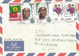 DRC RDC Zaire Congo 1990 Kamituga Balloon Sister Independence Flag 5Z Cover - 1990-96: Oblitérés