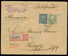 PARAGUAY. 1895. Asuncion - Germany. Reg Fkd Env 70c Rate + Mixed Issues + German R - Transit Label Train. Fine. - Paraguay