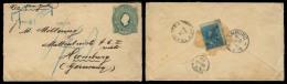 ECUADOR. 1893. Guayaquil (?) - Germany. 10c Green Stat Env + 3c Adtls Stamp Reverse Tied Arrival Cds. Via NY - London Ov - Ecuador
