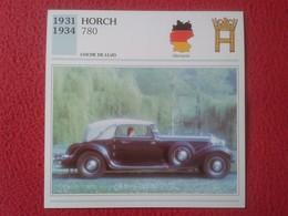FICHA TÉCNICA DATA TECNICAL SHEET FICHE TECHNIQUE AUTO COCHE CAR VOITURE 1931 1934 HORCH 780 GERMANY ALEMANIA CARS VER F - Coches