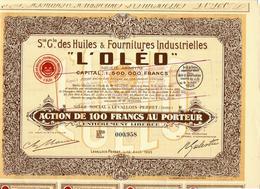 VOIR HISTORIQUE  INDUSTRIE HUILE Sté Gle Des Huiles Et Fournitures Industrielles L'OLEO LEVALLOIS PERRET B.E. VOIR SCANS - Industrie