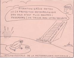 AVIS DE GRÈVE PAR L'INTERSYNDICALE DE LA METEOROLOGIE NATIONALE - DESSIN SIGNÉ - PROSPECTUS AEROPORT DE PARIS - Aviation Commerciale
