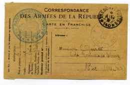 Poste De Radiogoniometrique RG2 + Foyer Du Soldat N°53 / Sur Carte De Franchise WW1 - Marcophilie (Lettres)