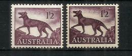 AUSTRALIE.  Tasmanian Tiger, 2 Timbres Neufs ** Couleur Differente - Big Cats (cats Of Prey)