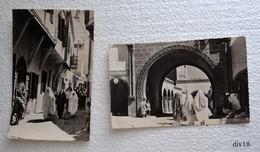 Maroc - 2 CPSM De CASABLANCA:  - Rue De Foudouk Dans L'ancienne Médina  Et Portes De La Nouvelle Médina - Casablanca