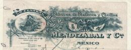 341B/24 - Mexique LOCOMOTIVE - Mandat 1913 TP Fiscaux MEXICO Et France - Fabricant D' Allumettes ( Fosforos) Mendazabal - Trains