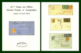 Catalogue 61éme Vente Sur Offres Roumet 2018 Histoire Postale Et Autographes - Catalogues For Auction Houses