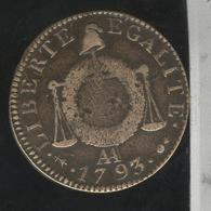 1 Sol 1793 AA TTB - 1789-1795 Monnaies Constitutionnelles