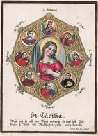"""0522 """"SANTA CECILIA E ALTRI SANTI"""" SANTINO IN RILIEVO E ORO - Images Religieuses"""