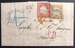 FRANCE  Allemagne Occupation Lettre Reich N°4 & 6 Obl SCHIRMECK Pour Nancy Superbe +Taxée ! - Alsace-Lorraine