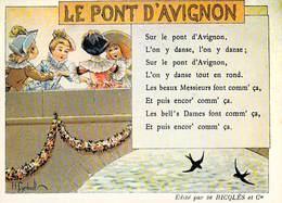 PUB Publicité NUGERON  C.C.3 VIEILLES CHANSONS FRANCAISES Le Pont D'Avignon - Ricqles  *PRIX FIXE - Advertising