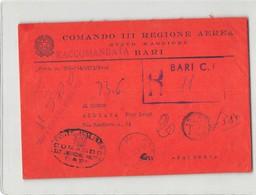 6932 RACCOMANDATA - COMANDO III REGIONE AEREA STATO MAGGIORE BARI  X PALERMO - SENZA TESTO - TASSA A CARICO DESTINATARIO - 1946-.. Republiek