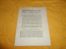 DOCUMENT ANCIEN EDIT DU ROY DONNE A VERSAILLES AU MOIS DE DECEMBRE 1691. PORTANT SUPPRESSION DE TPUS LES OFFICES DE COMM - Décrets & Lois