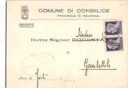 7310 02  LUOGOTENENZA - COMUNE DI CONSELICE X GAMBETTOLA - 1944-46 Lieutenance & Humbert II