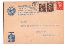 7338 02  FARMACIA AL REDENTOR  VENEZIA SAN MARCO X ESTE - PIEGA CENTRALE - 5. 1944-46 Luogotenenza & Umberto II