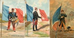 3 Cpa Uniforme Militaire Et Drapeau Français - Uniforms