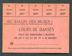 """Jeton De Bal Carton De 5 X 10frs """"Au Salon Des Muses !"""" Cours De Danses Maison Delhotal à Essonnes (Corbeil-Essonnes) - Professionals / Firms"""