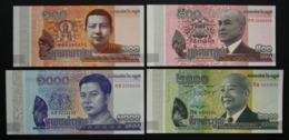 Cambogia 100, 500, 1000 E 2000 Riels 2014 - Cambodia 4x Pcs Set UNC FdS - Cambogia
