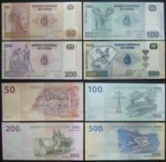 Congo 50 100 200 500 Franchi FdS Franc Francs UNC 4x Pcs Set - Congo