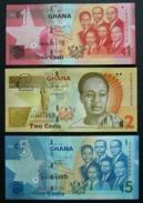 Ghana 1, 2 E 5 Cedis - 3 Pcs Set UNC FDS - Ghana