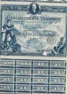 ETABLISSEMENTS VERMINCK - ACTION ILLUSTREE DE 100 FRS (BLEUE) ANNEE 1920 - Actions & Titres
