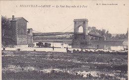 Rhone Belleville Sur Saone Le Pont Suspendu Et Le Port éditeur Bf N°1 Tonneaux Bariques - Belleville Sur Saone