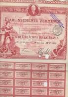 ETABLISSEMENTS VERMINCK - ACTION ILLUSTREE DE CINQ ACTIONS DE CENT FRANCS-  COULEUR LIE DE VIN - Actions & Titres