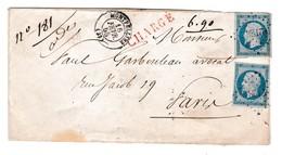 LSC - 16/02/1858 - CàD Type 15 MONTPELLIER (33) - Pli CHARGE  2 X N° 14 - CACHETS AMBULANTS - Pour PARIS - Postmark Collection (Covers)