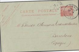 EP 10 Cts Rose De Tunis / >Tunisie /2.9.1908 -> ESPAGNE / Barcelona - Tunisia (1888-1955)