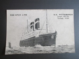 "PK Red Star Line ""SS PITTSBURGH3 - Zonder Classificatie"