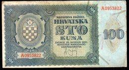 CROATIA NDH 1941. 100 Kuna / WAR BANKNOTE - Croacia