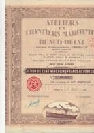 ACTION DE 125 FRS - ATELIERS ET CHANTIERS MARITIMES DU SUD OUEST -ANNEE 1927 - Navigation