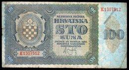 CROATIA NDH 1941. 100 Kuna / WAR BANKNOTE - Croatia