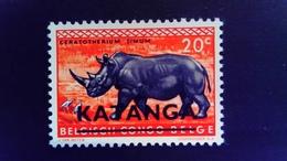 Katanga 1960 Rhinoceros Congo Belge Surchargé Overprint Yvert 7 ** MNH - Katanga