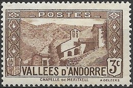ANDORRA 1932 Our Lady's Chapel, Meritxell - 3c - Brown MH - Neufs