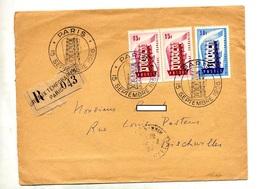 Lettre Recommandee Paris Europa 1956 - Manual Postmarks