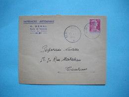 ENVELOPPE PUBLICITAIRE  -  IMPRIMERIE ARTISANALE  BERAL  -  Route De Toulouse  ALBI  -  81  -  Tarn  -  1955  - - Marcophilie (Lettres)